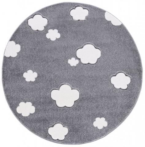 Dětský kulatý koberec MRÁČKY stříbrnošedý