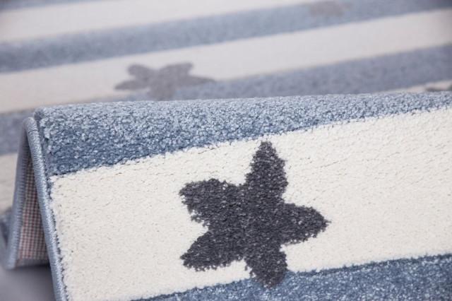 Dětský koberec STARS STRIPES modrobílý