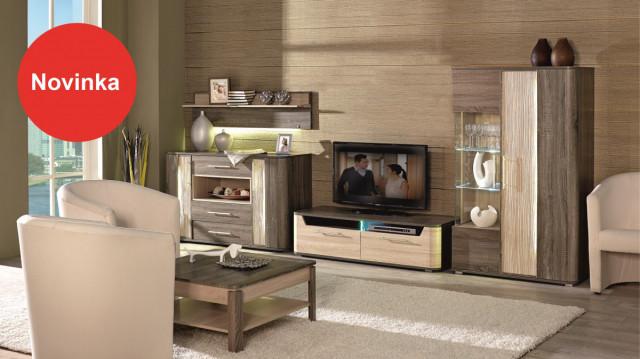 TV komoda (obývací pokoje) - sonoma světlý/tmavý č.3