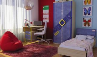 Skříň Jeans (dětské pokoje) - santana / žlutý č.3