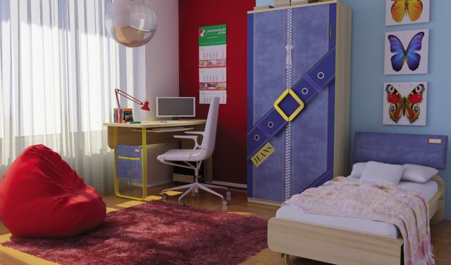 Skříň Jeans (dětské pokoje) - santana / žlutý č.2