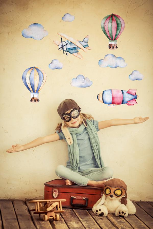 Forclaire Dekorace na zeď Balóny a letadla