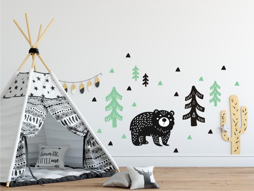 Forclaire Dekorace na zeď Medvěd v lese mátovo-černý