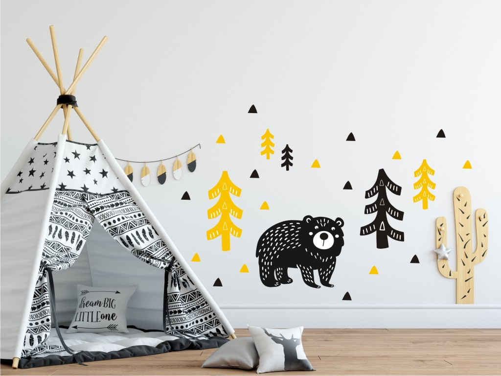 Forclaire Dekorace na zeď Medvěd v lese žluto-černý