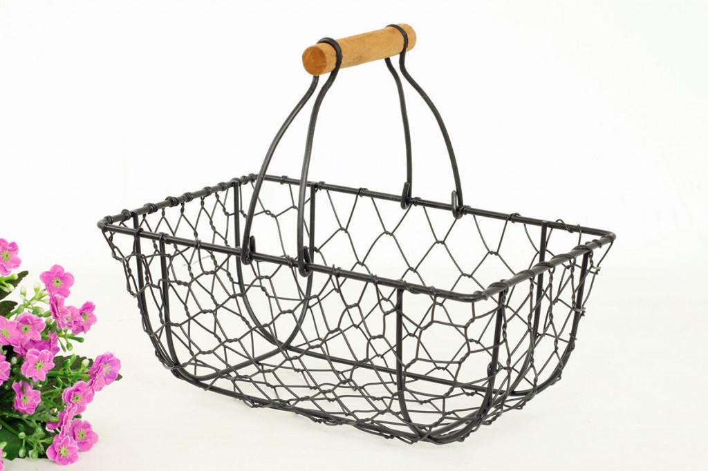 Košík kovový černý KOV026