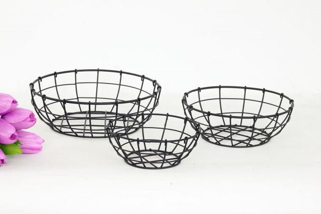 Košík kovový černý KOV027 - 3 ks č.1