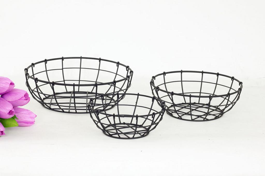 Košík kovový černý KOV027 - 3 ks