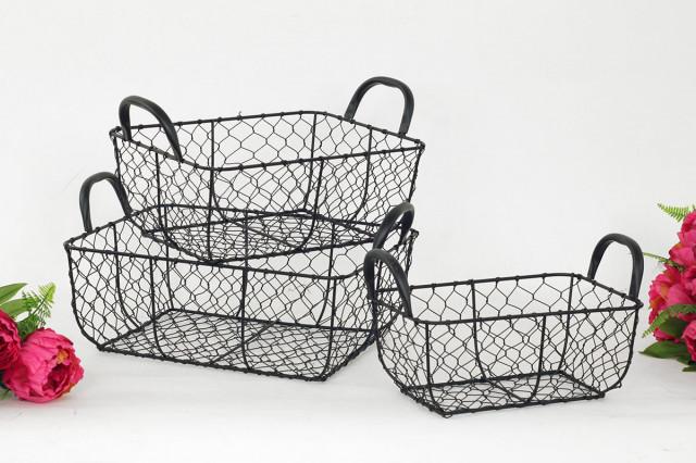 Košík kovový černý KOV019 - 3 ks
