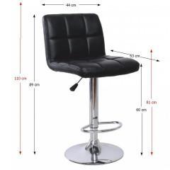 Barová židle KANDY - černá ekokůže / chrom č.3