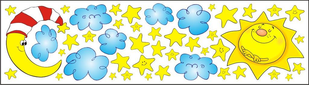 Forclaire Nálepky na okno - slunce měsíc hvězdy - 0,3 m2
