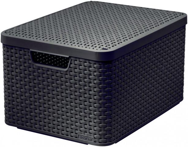 Box s víkem STYLE - L - tm. hnědý