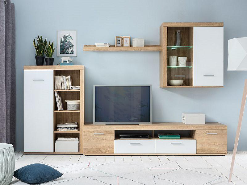 Obývací stěna Zora - dub Sonoma/bílá