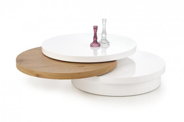 Konferenční stolek Michelle - bílá/dub zlatý č.1