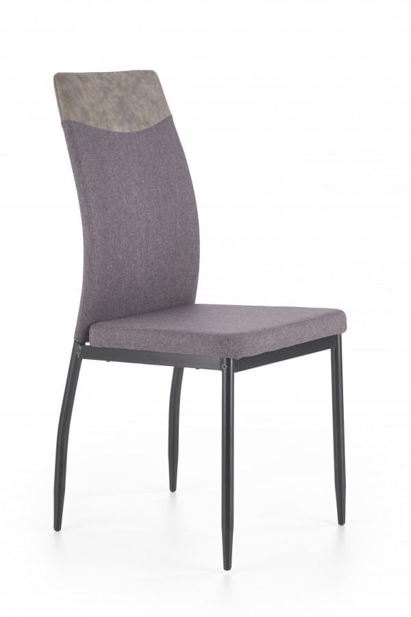 Halmar Jídelní židle K-276 světle šedá/černá ekokůže
