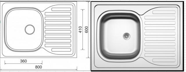 Celoplošný dřez SINKS CLP-D 800 M 0.5mm matný se sifonem - II. jakost