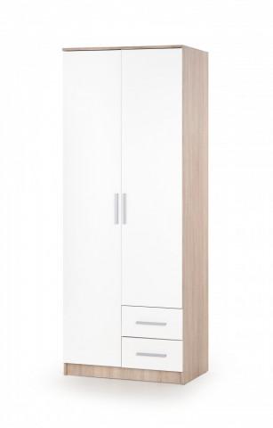 Šatní skříň LIMA S-2, dub sonoma / bílá