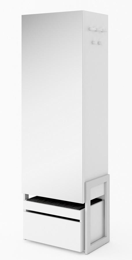 Casarredo Šatní skříň se zrcadlem k předsíni CLARO bílá