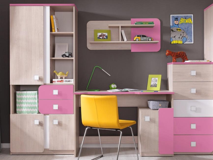 Dětský pokoj DUO (D2+4+6+8) santana/růžová