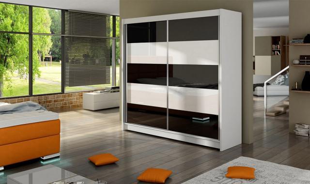 Šatní skříň FALKO III bílá/černá