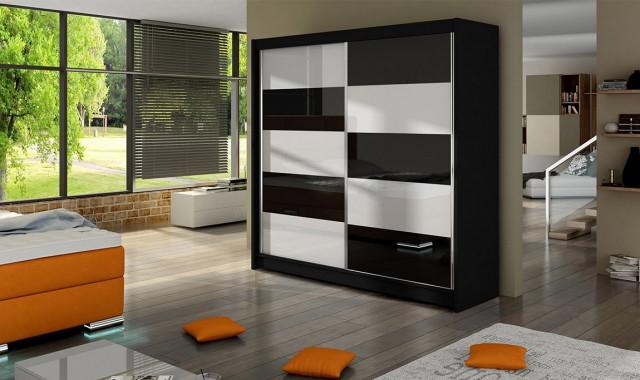Šatní skříň FALKO II černá/bílá