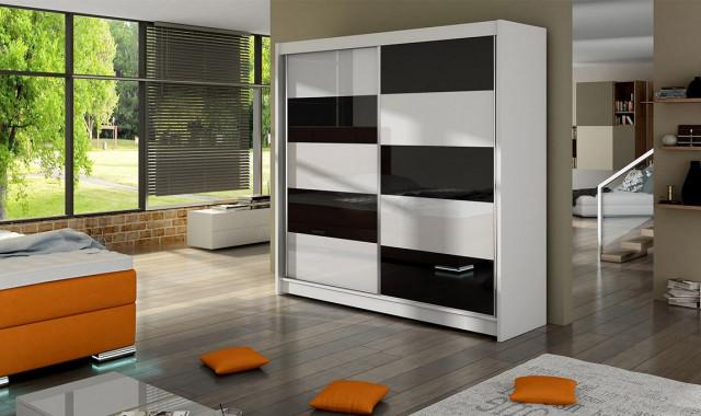 Šatní skříň FALKO II bílá/černá