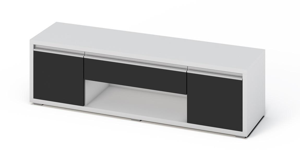 Casarredo Televizní stolek SOLETO bílá/černý lesk