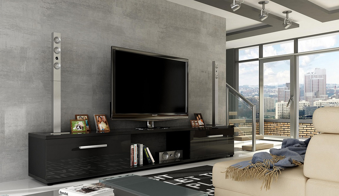 Casarredo TV stolek MALTON černý lesk