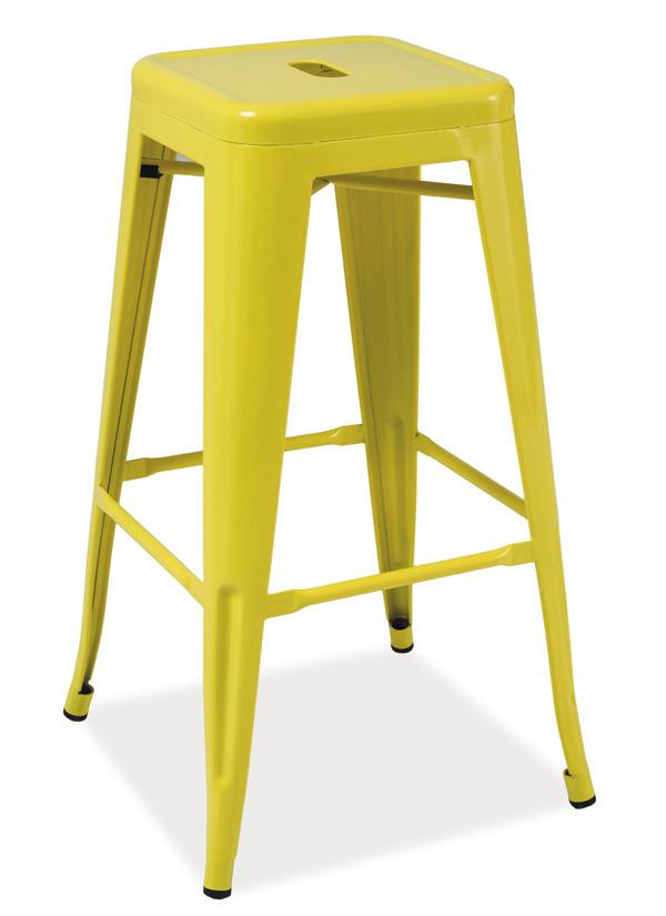 Casarredo Barová kovová židle LONG žlutá