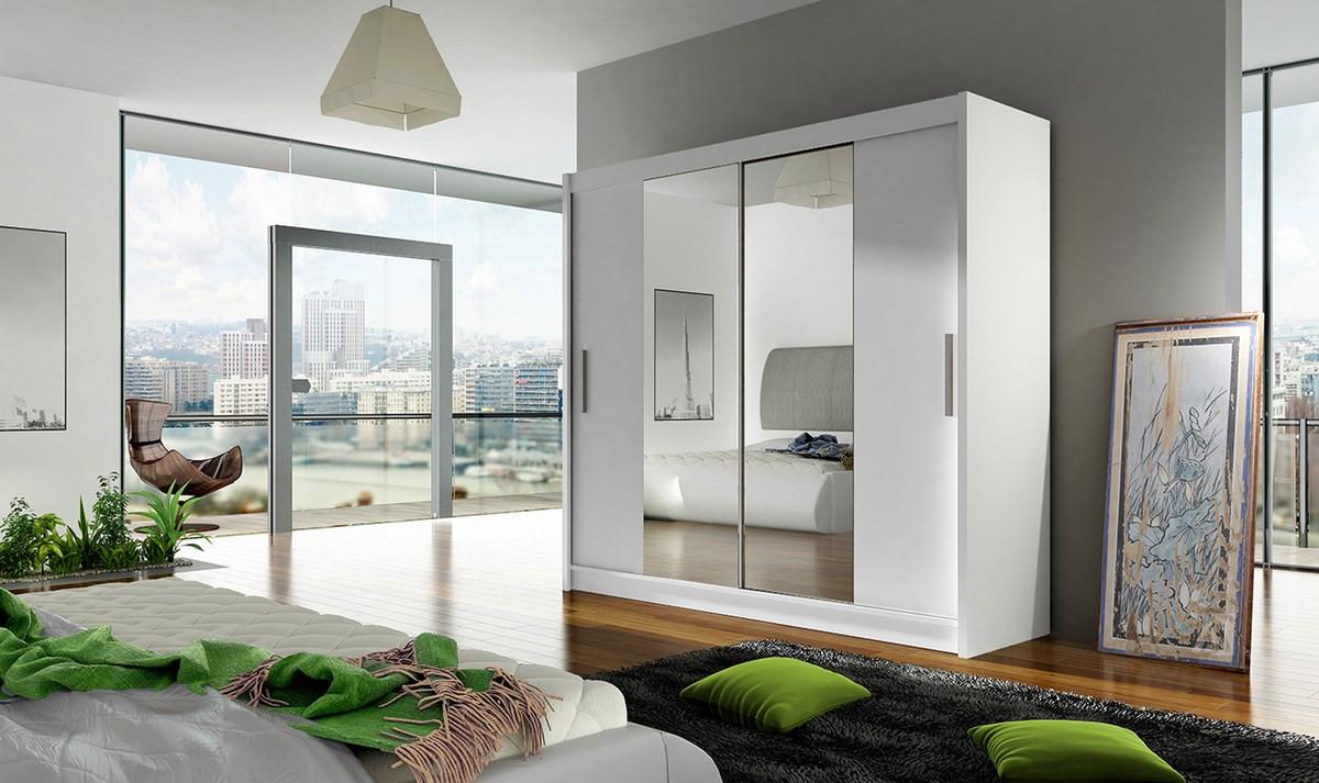 Casarredo Šatní skříň BEGA II bílá zrcadlo