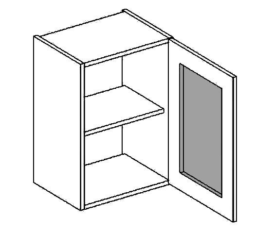Casarredo W40WPMR h. vitrína 1-dvéřová PREMIUM de LUX olše mraž. sklo