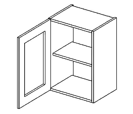 Casarredo W40WL h. vitrína 1-dvéřová PREMIUM de LUX olše čiré sklo