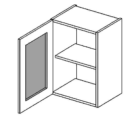 Casarredo W40WLMR h. vitrína 1-dvéřová PREMIUM de LUX olše mraž. sklo
