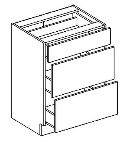 Casarredo D60S3 dolní skříňka se zásuvkami PREMIUM de LUX olše