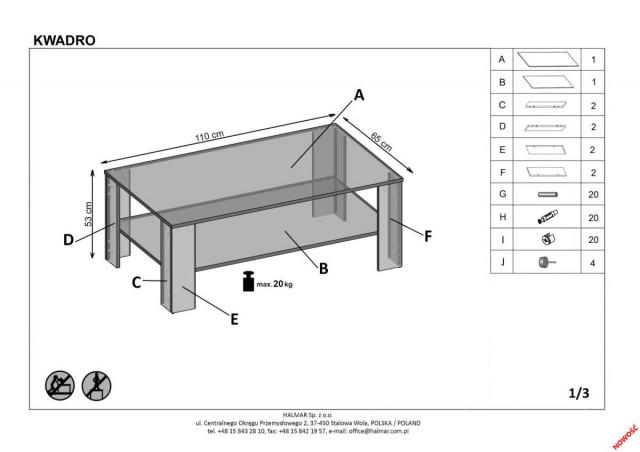 Konferenční stolek Kwadro č.6
