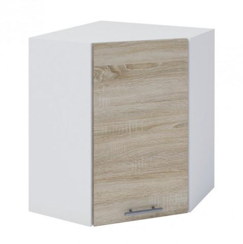Horní rohová skříňka, dub sonoma / bílá, FABIANA W - 60N