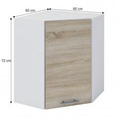 Horní rohová skříňka, dub sonoma / bílá, FABIANA W - 60N č.4