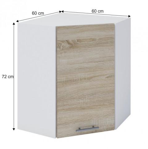 Horní rohová skříňka, dub sonoma / bílá, FABIANA W - 60N č.3