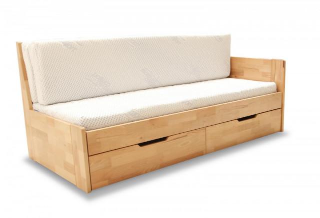 Dřevěná rozkládací postel Duette B sonoma