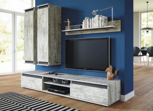 Obývací stěna Check bílá borovice/antracit