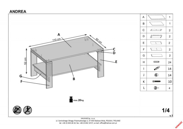 Konferenční stolek Andrea č.8