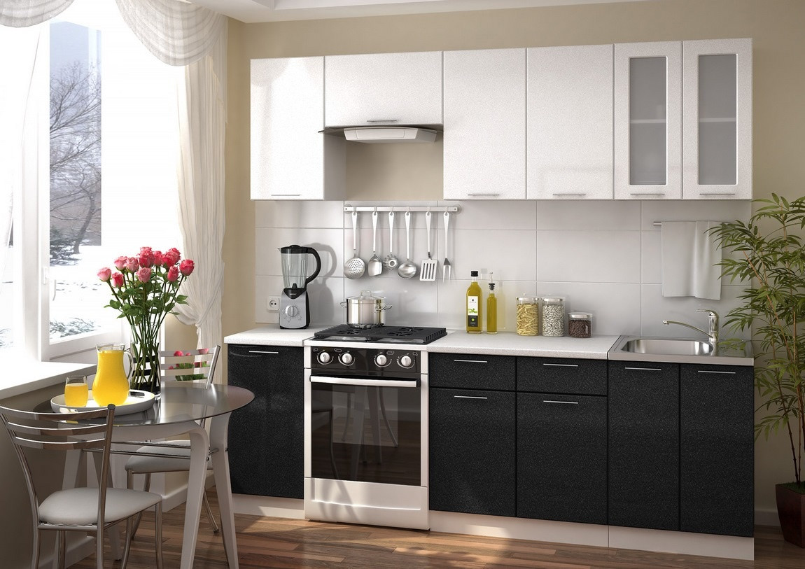 Casarredo Kuchyně VALERIA 240 - bílá/černý metalic