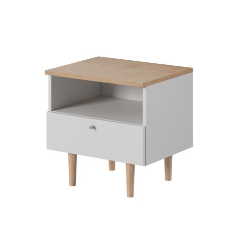 Noční stolek, bílá / buk pískový, Laveli LS50