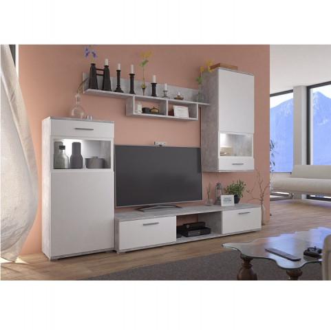 Obývací stěna BREAK - bílá / beton světlý