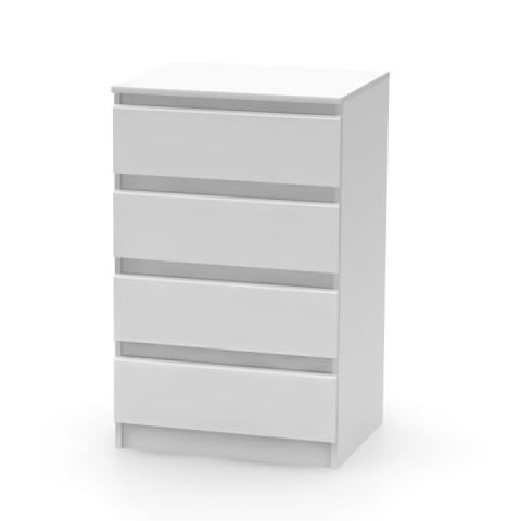 4 šuplíková komoda, bílá, HANY 014