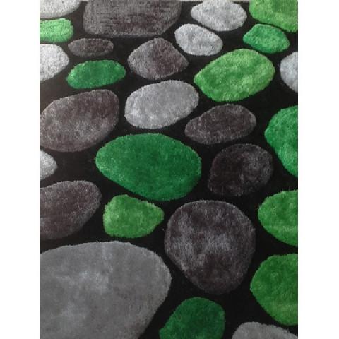 Koberec, zelená / šedá / černá, 80x150 cm, PEBBLE TYP 1