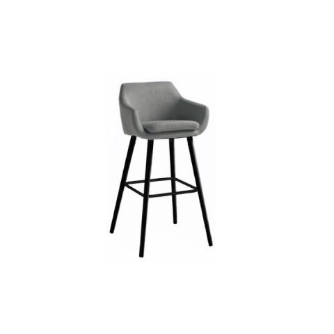 Barová židle Tahira - šedohnědá látka / černá