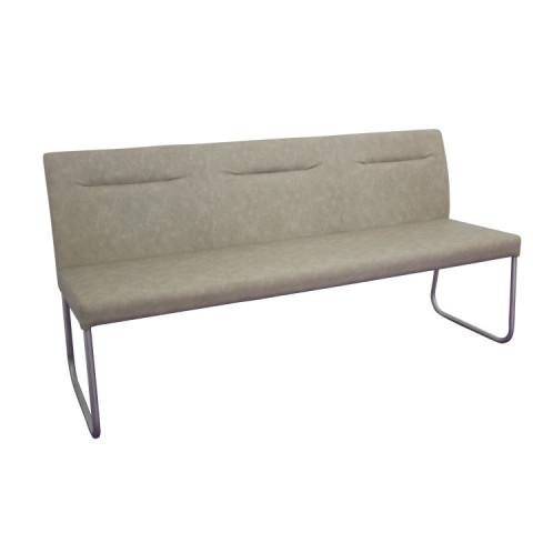 Designová lavice, šedohnědá ekokůže s efektem broušené kůže, INDRA typ 1