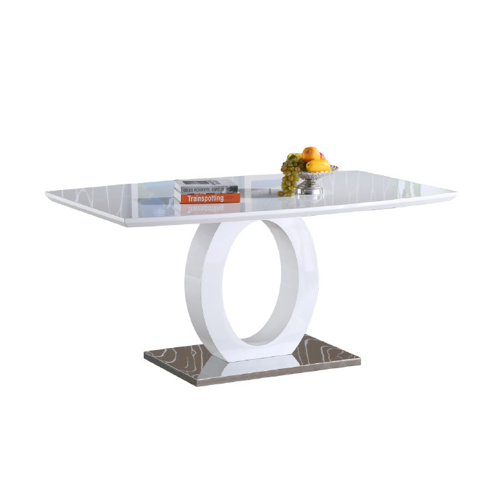 Tempo Kondela Jídelní stůl ZARNI - bílá vysoký lesk / ocel + kupón KONDELA10 na okamžitou slevu 3% (kupón uplatníte v košíku)