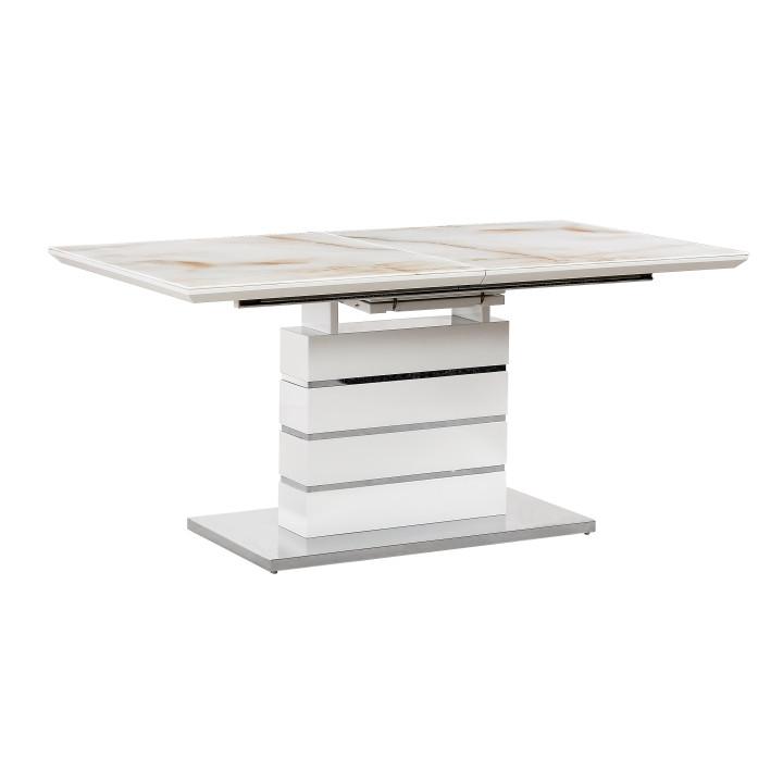 Tempo Kondela Jídelní stůl LAJOS - mramorový vzor / bílá HG + kupón KONDELA10 na okamžitou slevu 3% (kupón uplatníte v košíku)