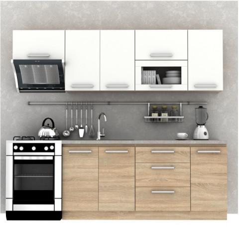 Kuchyňská linka NOVA PLUS - 2,4 m, dub sonoma/bílá